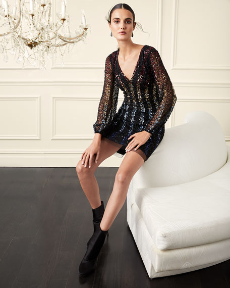 Image 2 of 3: Aidan by Aidan Mattox Sequined Multi Ombre Stripe V-Neck Long-Sleeve Mini Dress