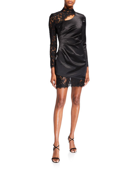 Aidan by Aidan Mattox Mock-Neck Liquid Satin & Lace Inset Mini Cocktail Dress