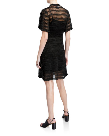 M Missoni Mock-Neck Flutter-Sleeve Lace Dress