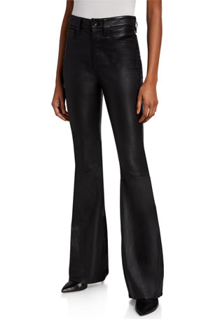 Rag & Bone Jane Super High-Rise Flare-Leg Leather Pants