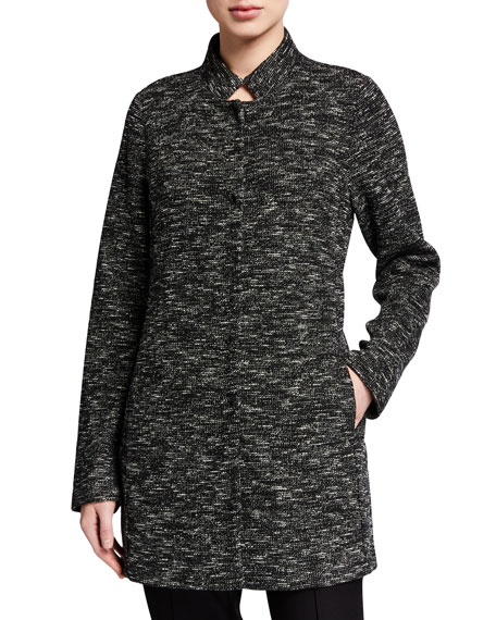 Eileen Fisher Tweedy Organic Cotton Stand-Collar Jacket