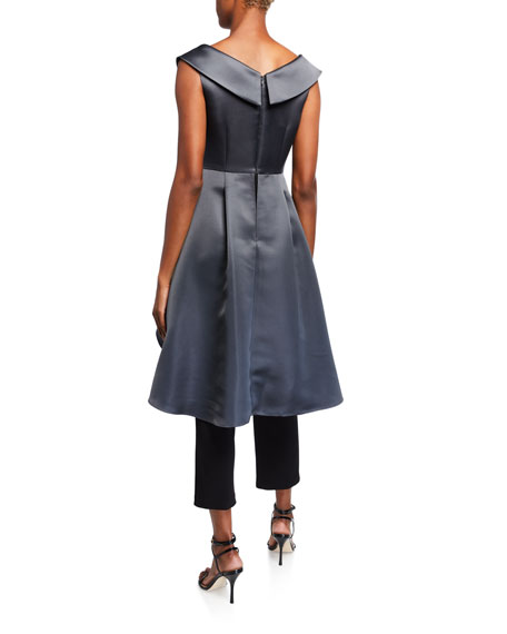 Image 2 of 2: Aidan Mattox Portrait Collar High-Low Mikado Overlay Jumpsuit