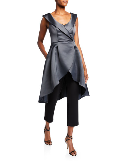 Image 1 of 2: Aidan Mattox Portrait Collar High-Low Mikado Overlay Jumpsuit