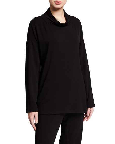 Eileen Fisher Tops STRETCH TERRY FUNNEL-NECK LONG-SLEEVE SIDE-SLIT TUNIC