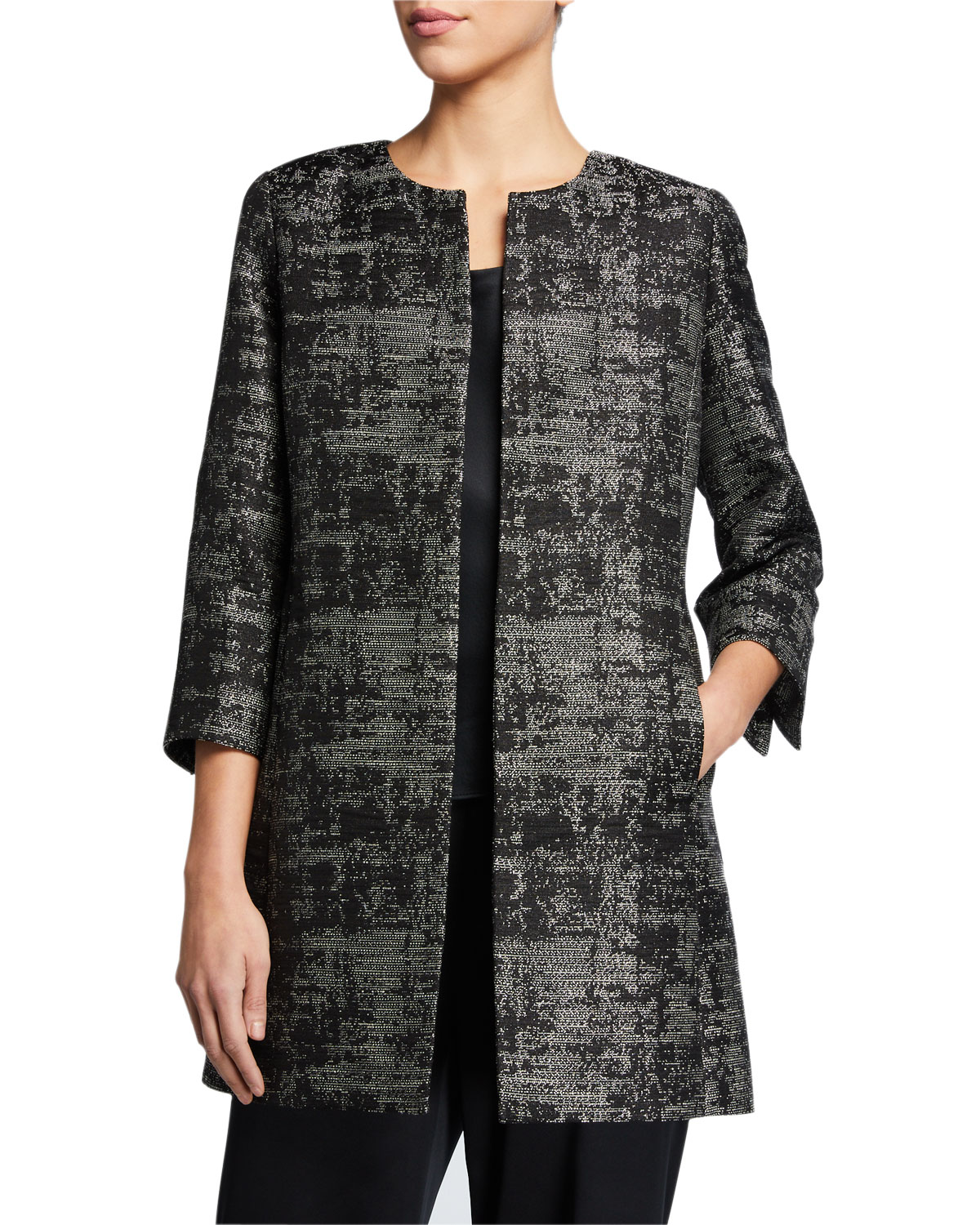 Moonlight Jacquard 3/4 Sleeve Jacket by Eileen Fisher