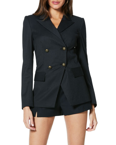 Ramy Brook Lenni Pinstripe Double-Breasted Jacket