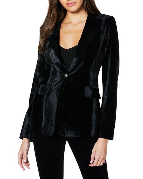 Ramy Brook Eli Velvet Single-Button Jacket