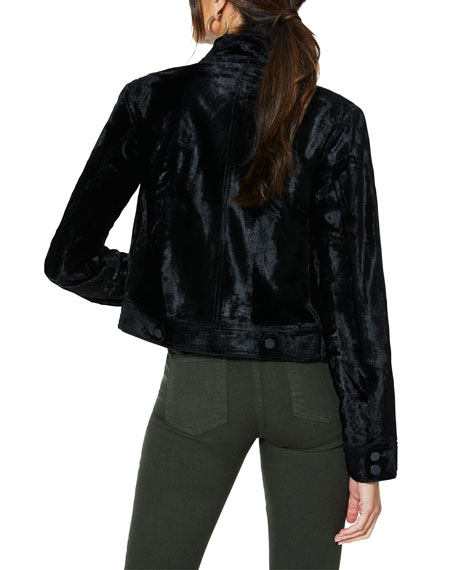 Ramy Brook Danser Cropped Velvet Moto Jacket
