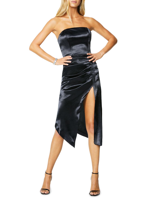 Ramy Brook Carmen Metallic Strapless Cocktail Dress w/ Slit