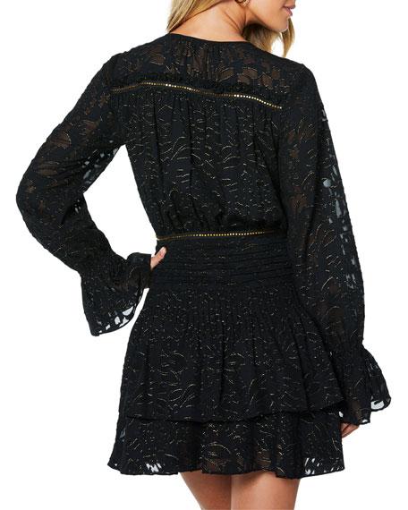 Ramy Brook Wells Metallic Burnout V-Neck Long-Sleeve Mini Dress
