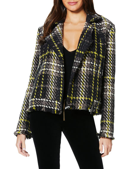 Ramy Brook Ethan Plaid Tweed Moto Jacket