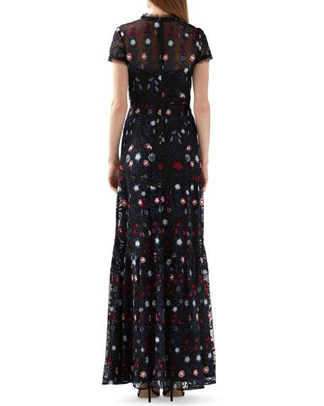 ML Monique Lhuillier Mock-Neck Short-Sleeve Floral Embroidered Mesh Maxi Dress
