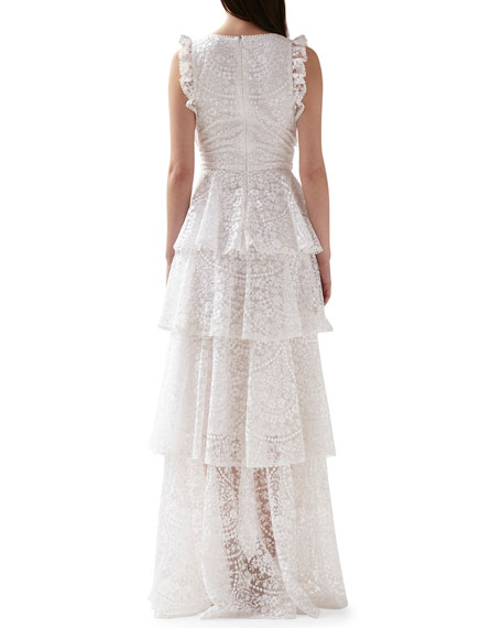 ML Monique Lhuillier Sleeveless Floral Embroidered Tiered Mesh Gown