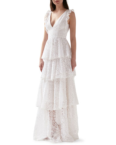 Sleeveless Floral Embroidered Tiered Mesh Gown
