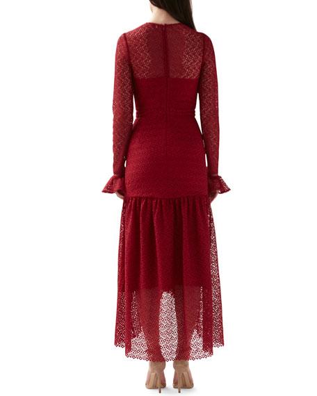 ML Monique Lhuillier Lace Long-Sleeve High-Low Dress