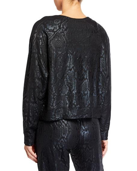 Terez Snake-Print Foil Cropped Crewneck Sweatshirt