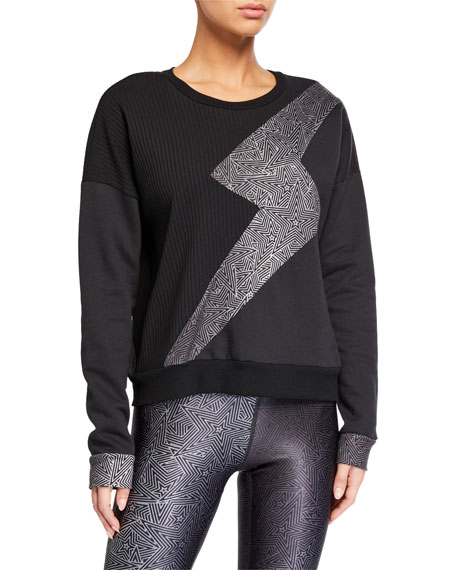Terez Ribbed Lightning Bolt Crewneck Sweatshirt