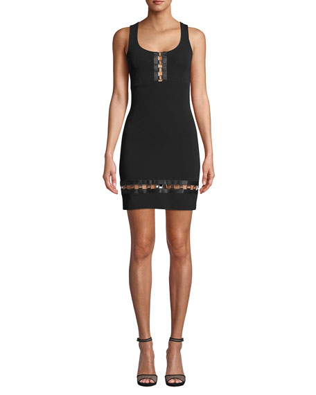 Image 1 of 2: Nicole Miller Embellished Square-Neck Sleeveless Heavy Jersey Mini Dress