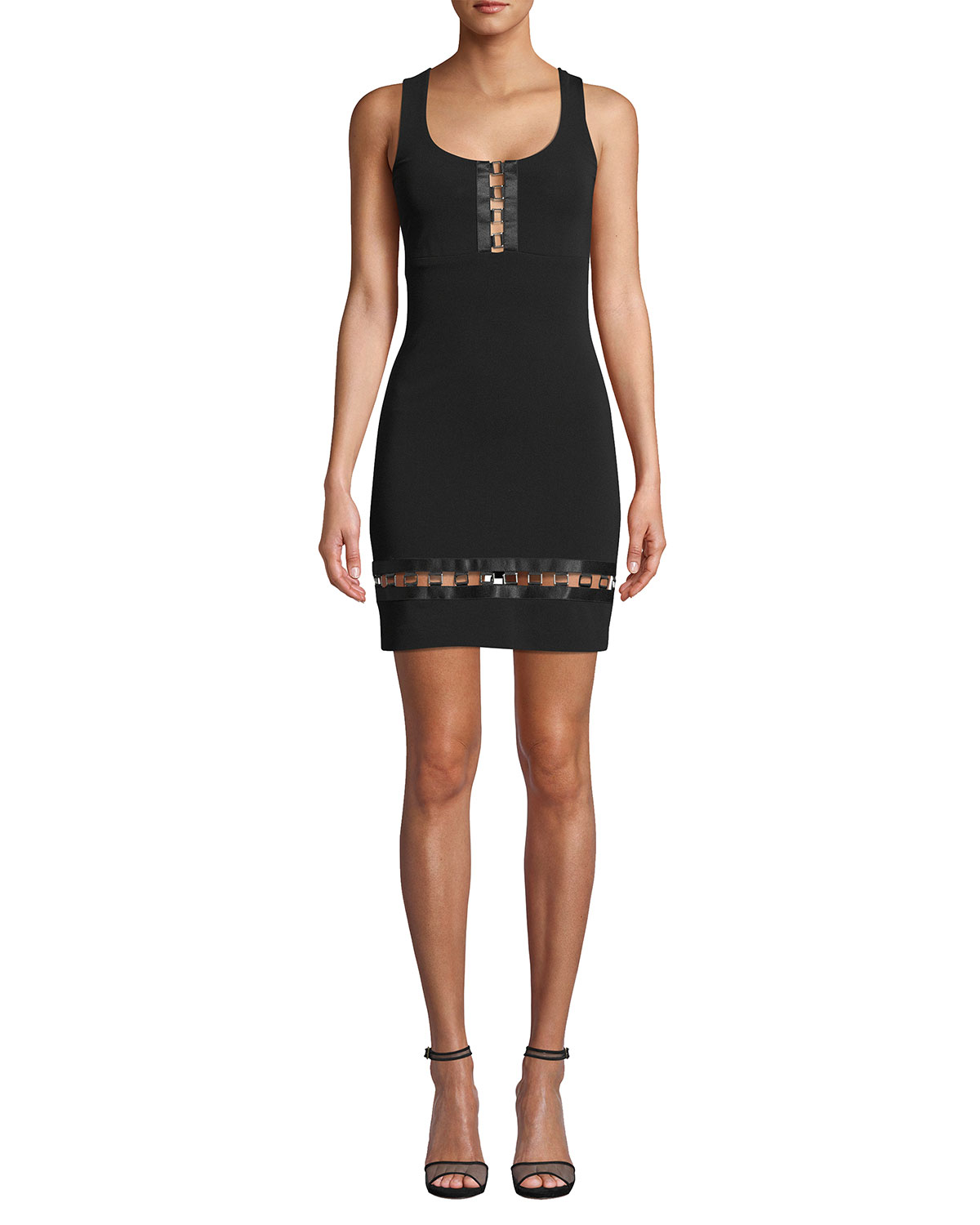 Nicole Miller Embellished Square-Neck Sleeveless Heavy Jersey Mini Dress