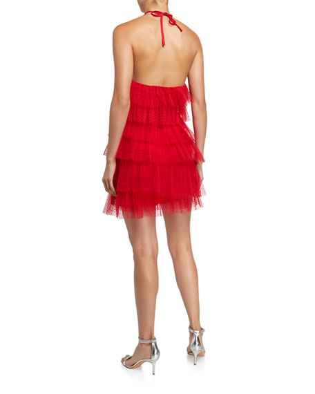 Image 2 of 2: Alexis Raina Tiered Tulle Halter Dress