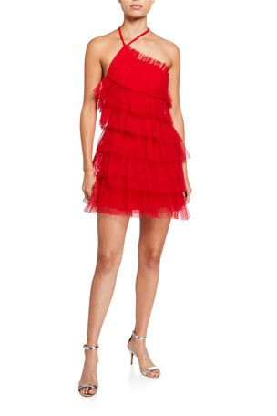 Alexis Raina Tiered Tulle Halter Dress