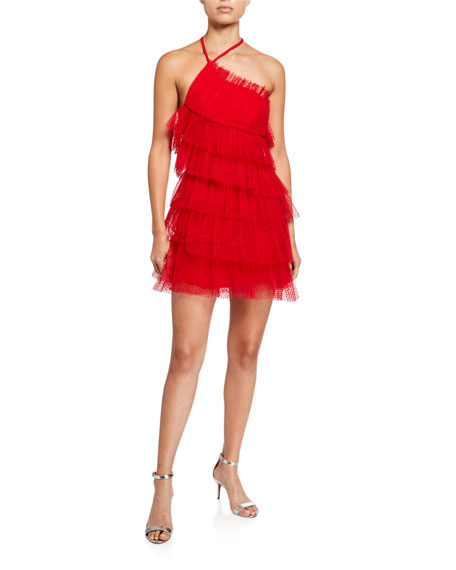 Image 1 of 2: Alexis Raina Tiered Tulle Halter Dress