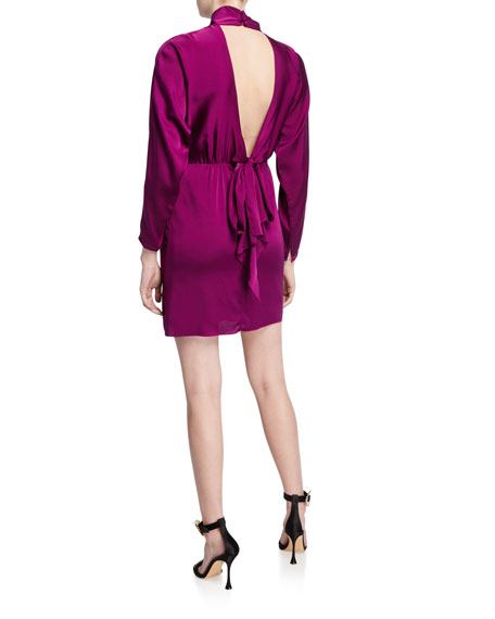 Milly Celeste Mock-Neck Cutout Back Stretch Silk Tie Short Dress
