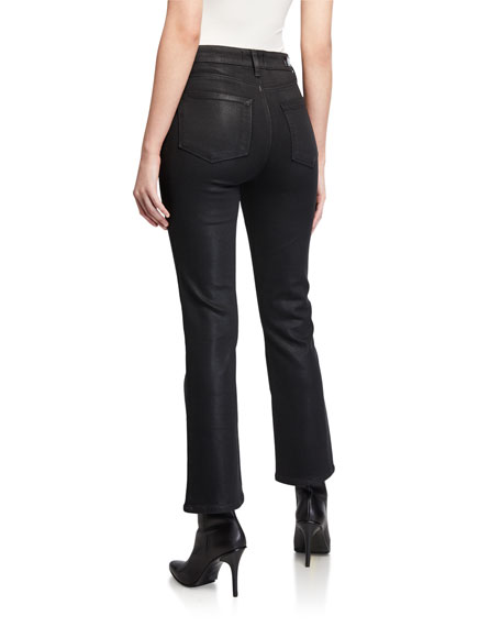 Image 2 of 3: PAIGE Claudine Luxe Coated High-Rise Flare Jeans