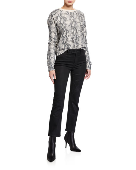 Image 3 of 3: PAIGE Claudine Luxe Coated High-Rise Flare Jeans