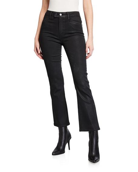 Image 1 of 3: PAIGE Claudine Luxe Coated High-Rise Flare Jeans