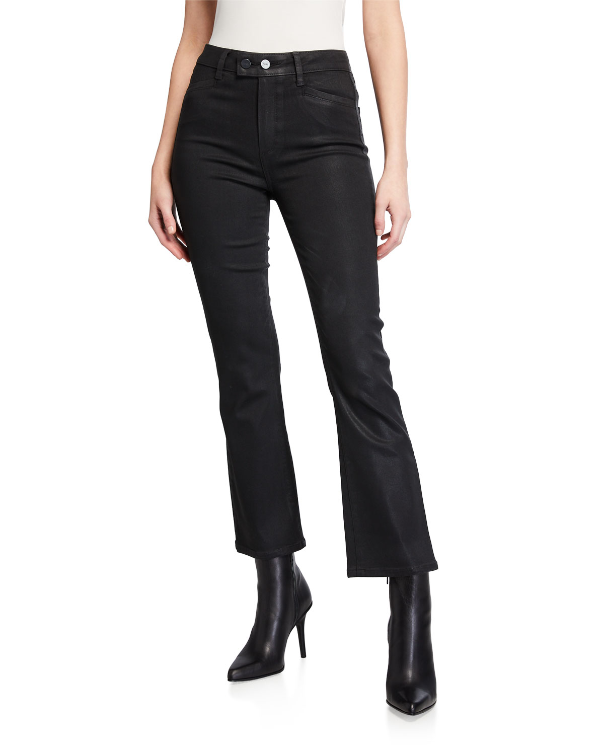 PAIGE Claudine Luxe Coated High-Rise Flare Jeans