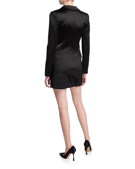 Milly Double-Breasted Stretch Satin Mini Blazer Dress