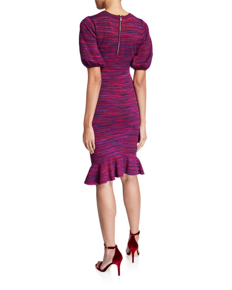Image 2 of 2: Milly Space Dye Puff-Sleeve Dress