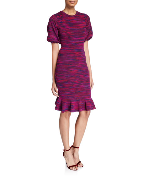 Image 1 of 2: Milly Space Dye Puff-Sleeve Dress