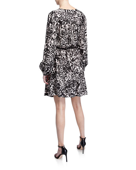 Image 2 of 2: Milly Leopard Printed Jacquard Long-Sleeve Wrap Dress