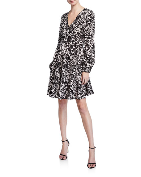 Image 1 of 2: Milly Leopard Printed Jacquard Long-Sleeve Wrap Dress