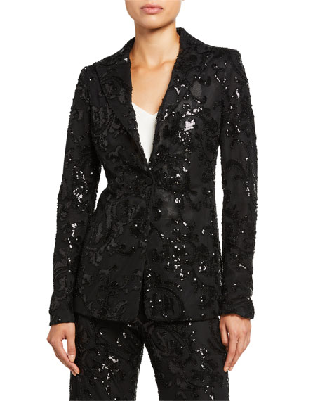 Image 2 of 3: Alexis Firdas Sequined Single-Button Jacket