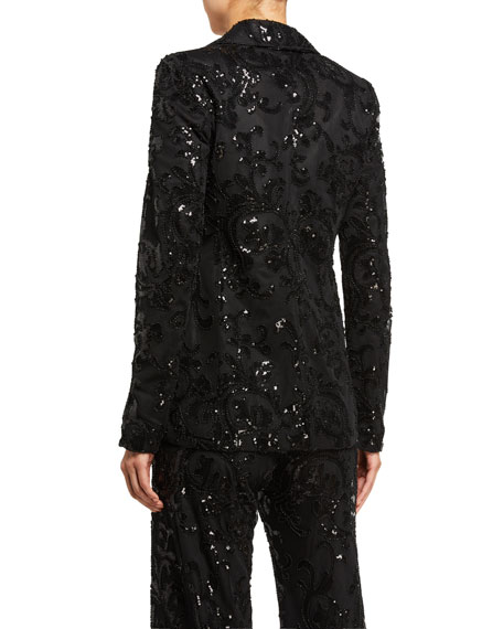 Image 3 of 3: Alexis Firdas Sequined Single-Button Jacket
