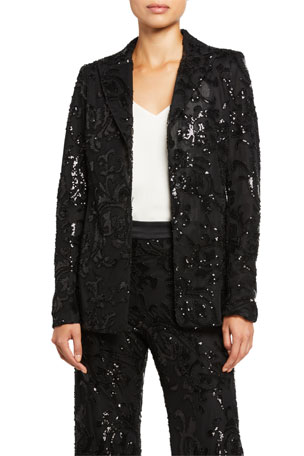 Alexis Firdas Sequined Single-Button Jacket