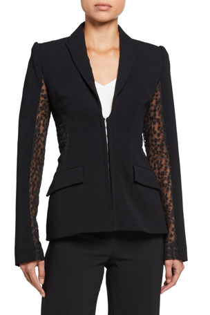 Alexis Amrita Hook-Front Jacket w/ Mesh Insets