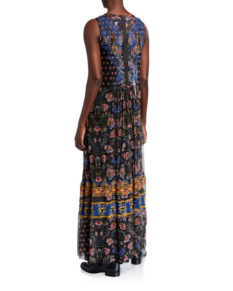 Johnny Was Bihley Printed Mesh Sleeveless Long Dress