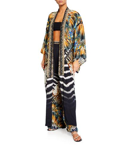 Printed Kimono Coat Coverup