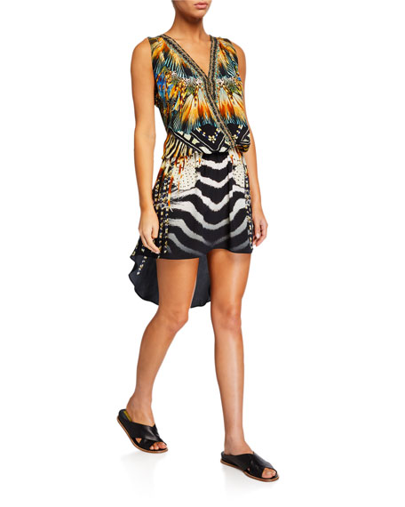Camilla Crossover Sleeveless Dress with Long Back