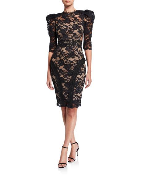Bronx And Banco Madeline Noir Puff Sleeve Lace Dress W