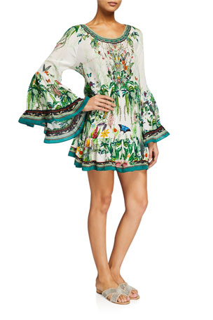 Camilla Floral A-Line Flared-Sleeve Mini Frill Dress