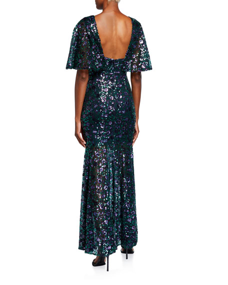 Dress The Population Lourdes Flutter Half-Sleeve Lace Gown