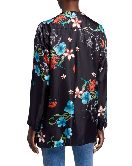 Johnny Was Plus Size Becca Floral Print V-Neck Long-Sleeve Silk Top