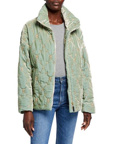 Lux Velvet Puffer Coat w/ Silk Print Lining