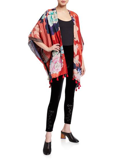 Johnny Was Petite Leila Reversible Tassel Edge Silk Kimono