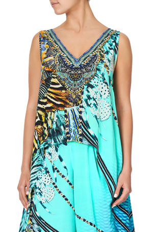 Camilla Printed High-Low Overlay Sleeveless Top